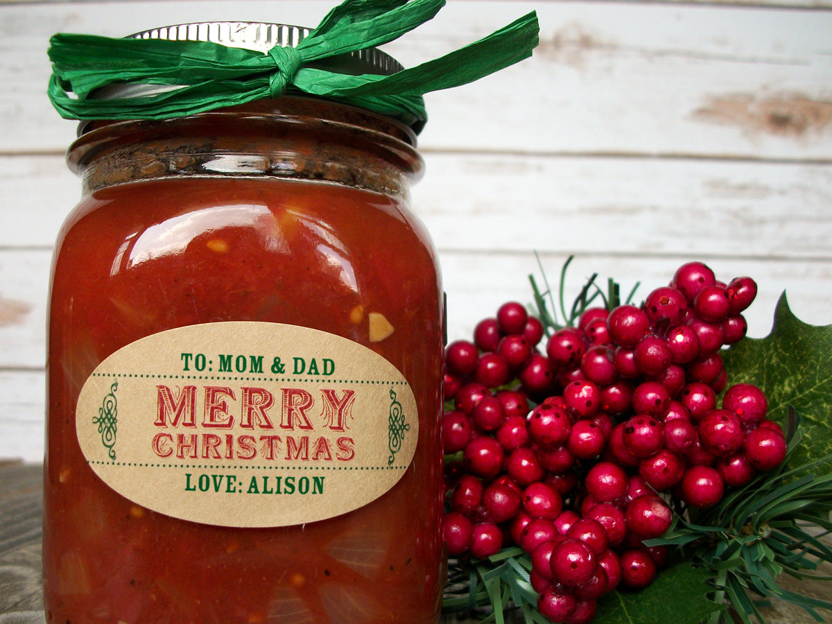 Custom Christmas Oval Canning Jar Labels | CanningCrafts.com