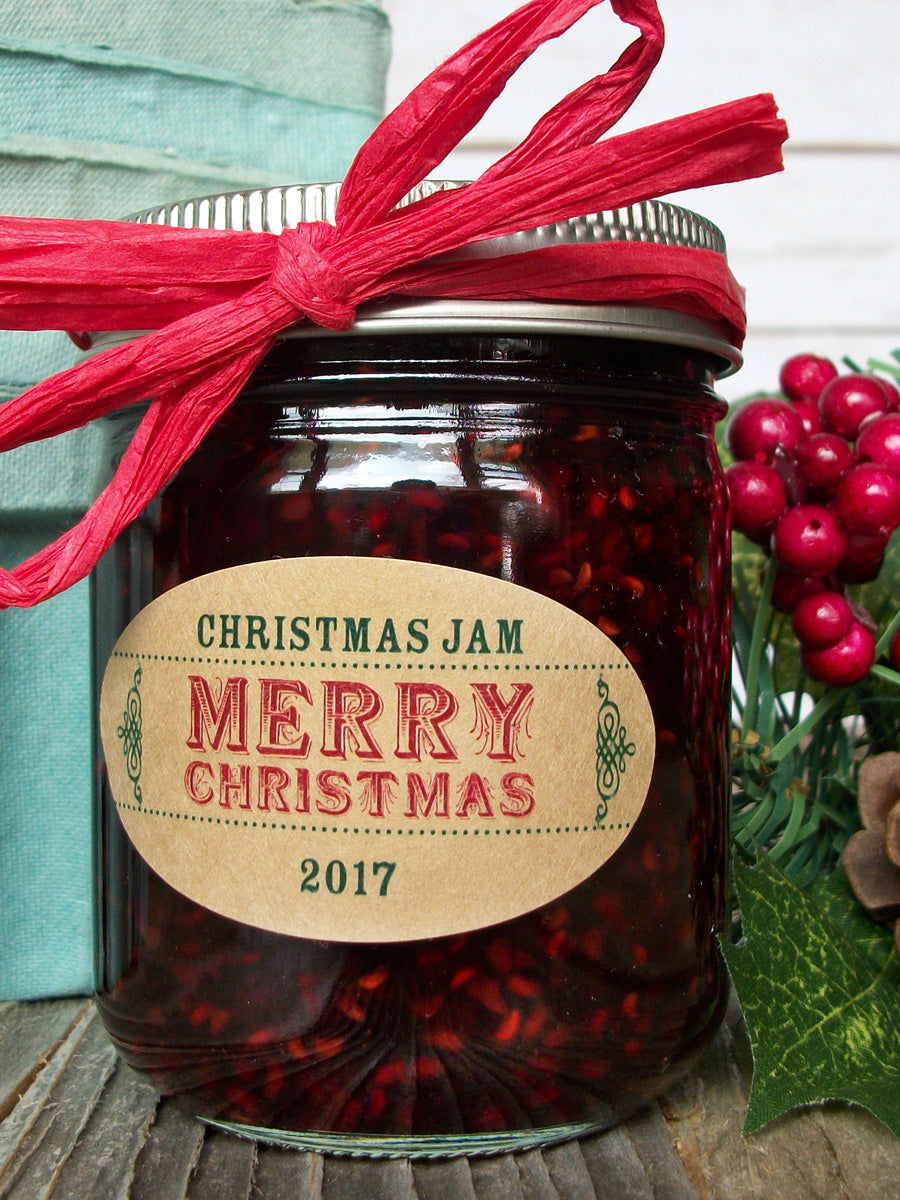 Custom Christmas Oval Canning Jam Jar Labels | CanningCrafts.com