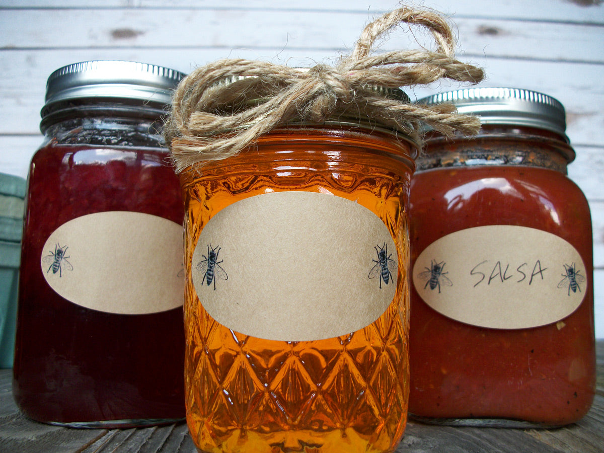 Kraft honey bee oval Quilted canning jar labels | CanningCrafts.com