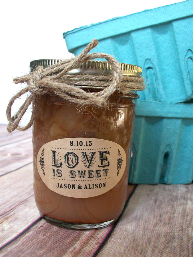 Love is Sweet kraft oval wedding favor labels | CanningCrafts.com