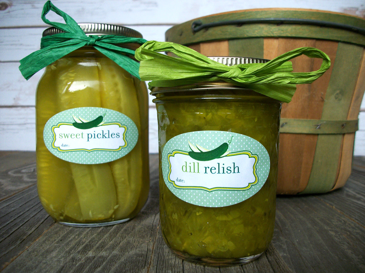 dill & sweet pickle relish canning jar labels | CanningCrafts.com
