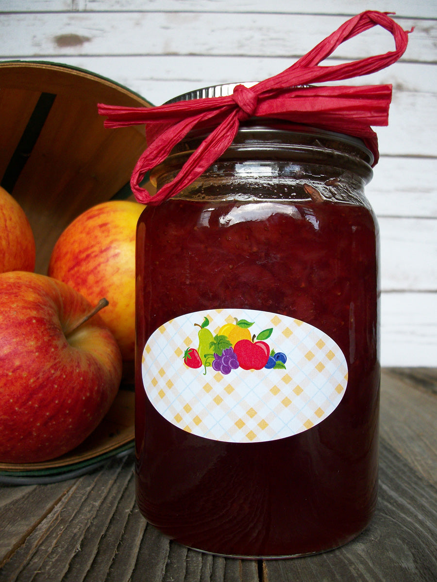 Quilted oval fruit canning jar labels | CanningCrafts.com
