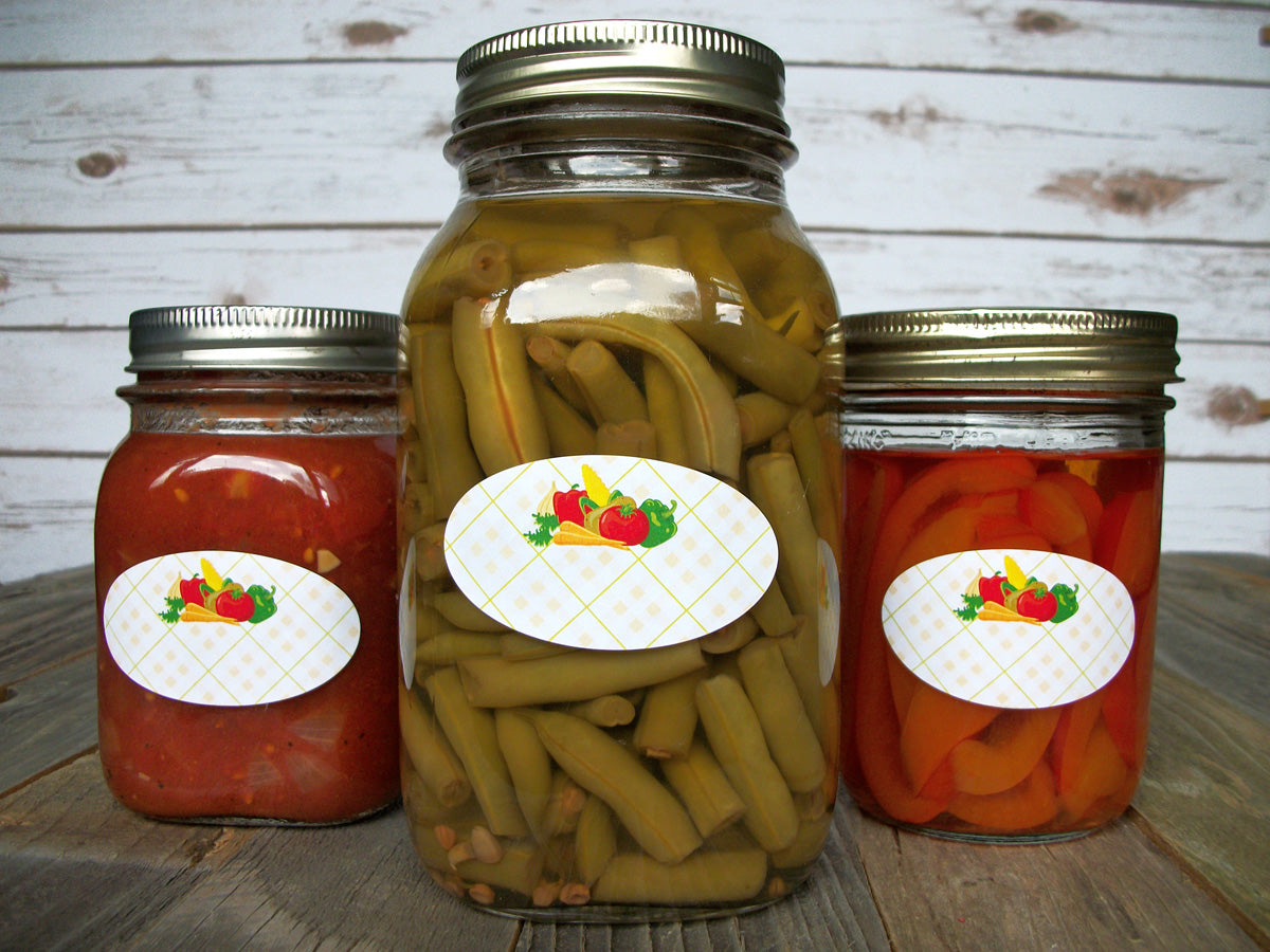 oval vegetable canning labels fit quilted jars | CanningCrafts.com