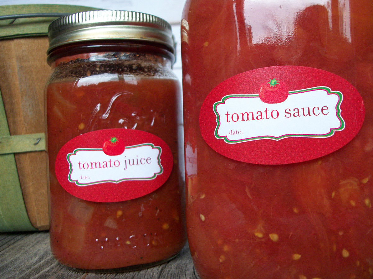 tomato sauce & juice canning jar labels | CanningCrafts.com