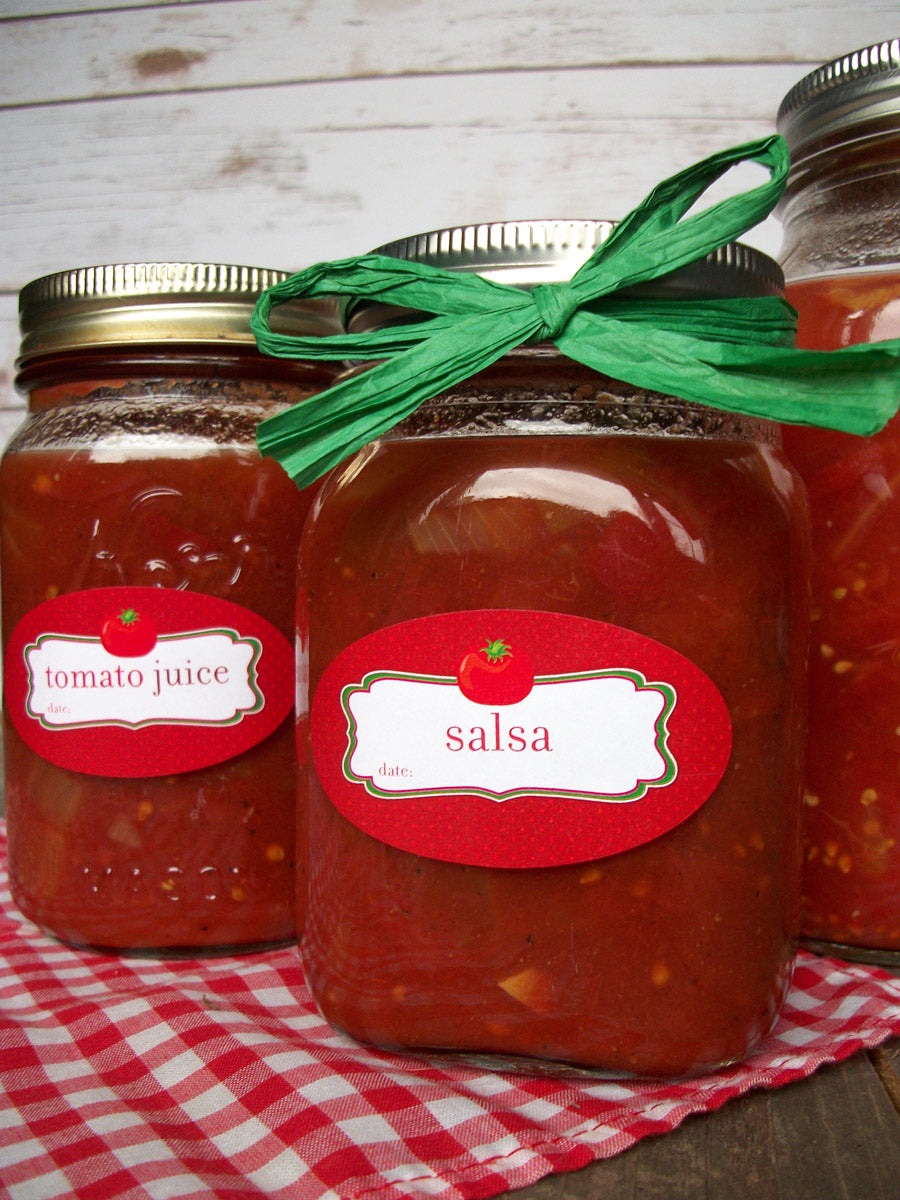 tomato juice & salsa canning jar labels | CanningCrafts.com