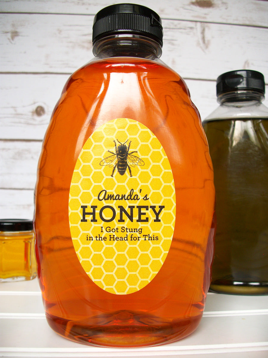 Custom oval yellow & black honey bottle labels | CanningCrafts.com