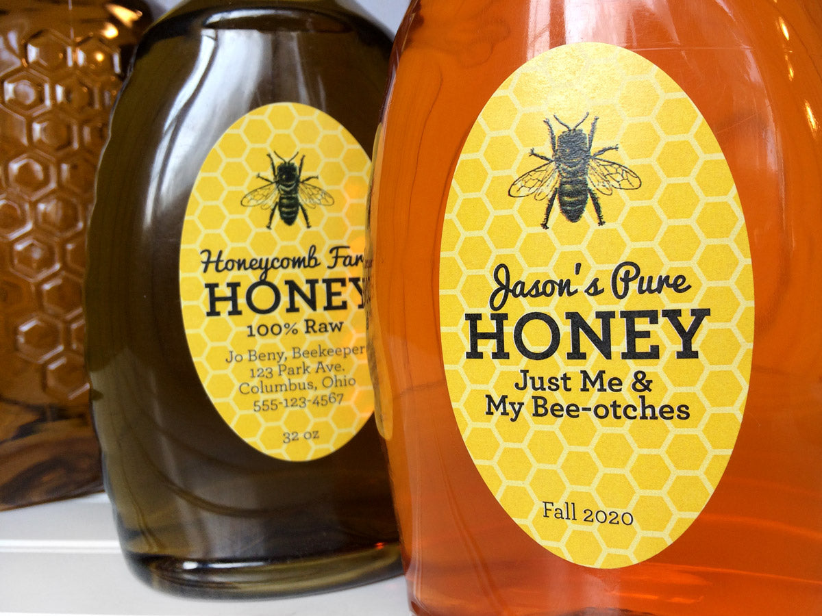 Custom yellow oval honey bottle labels | CanningCrafts.com