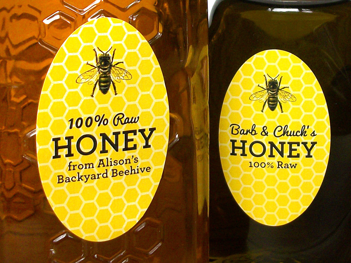 Custom yellow oval honey labels | CanningCrafts.com