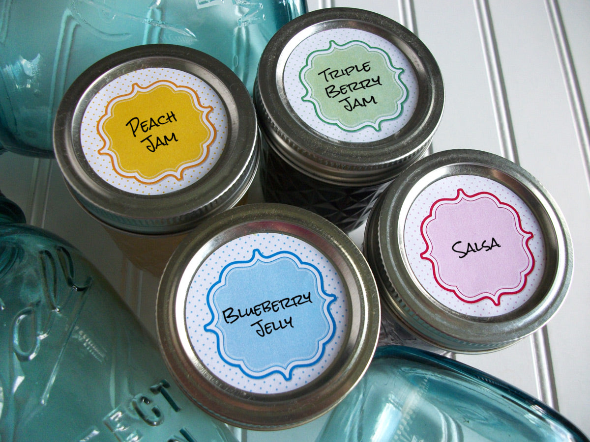 Pastel Dots canning labels | CanningCrafts.com