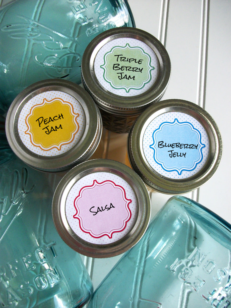 Pastel Dots mason canning jar labels | CanningCrafts.com