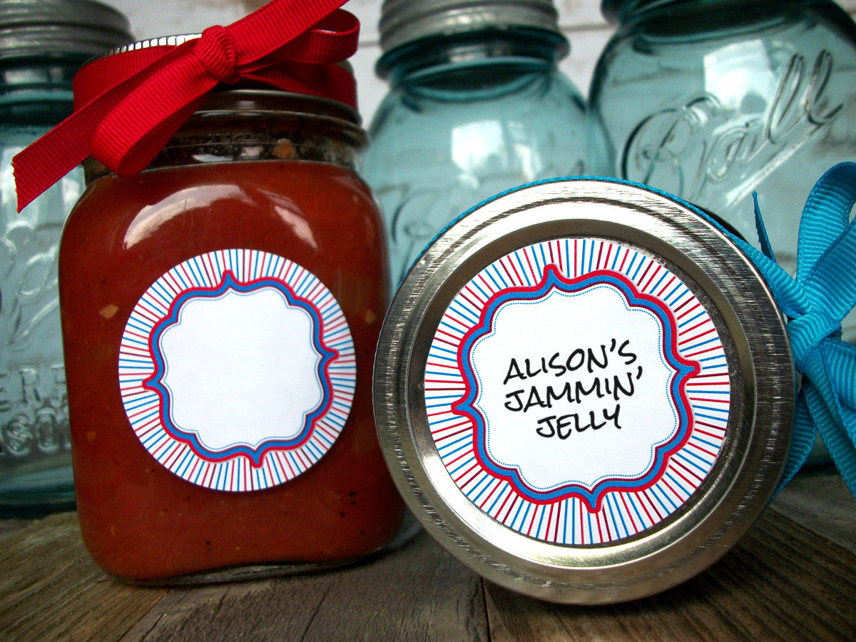 Red white & blue Patriotic canning jar labels | CanningCrafts.com