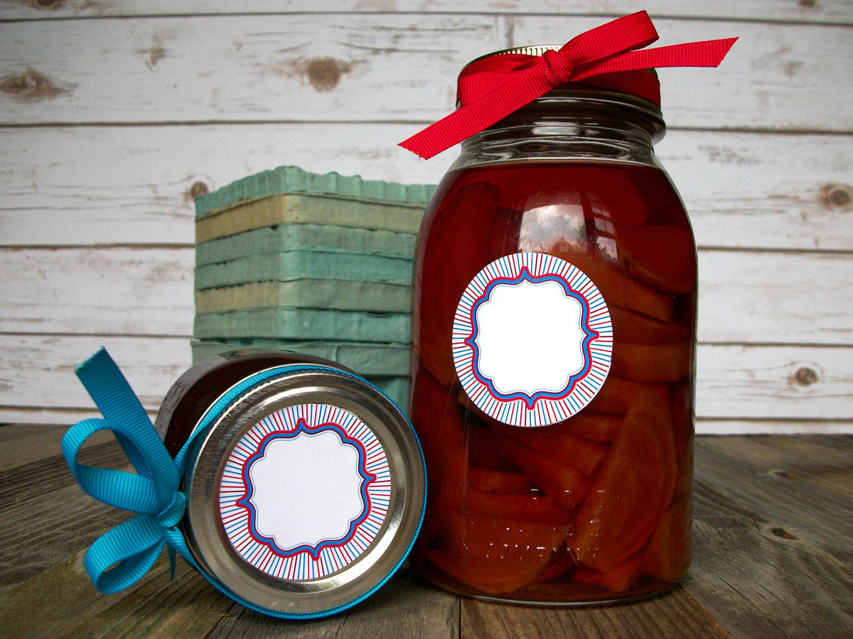 Patriotic red white & blue canning jar labels