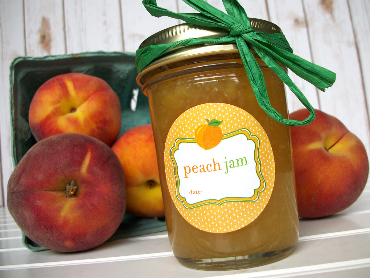 Cute Peach Jam Canning Jar Labels | CanningCrafts.com