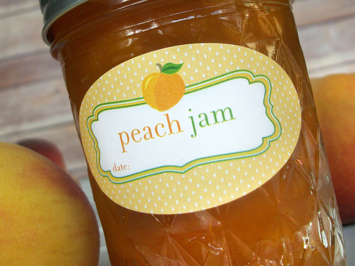 Oval Peach Jam Canning Labels | CanningCrafts.com