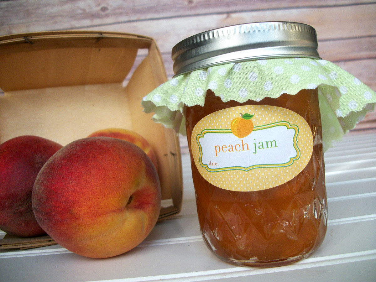 Peach Jam Canning Labels for quilted jam jars | CanningCrafts.com