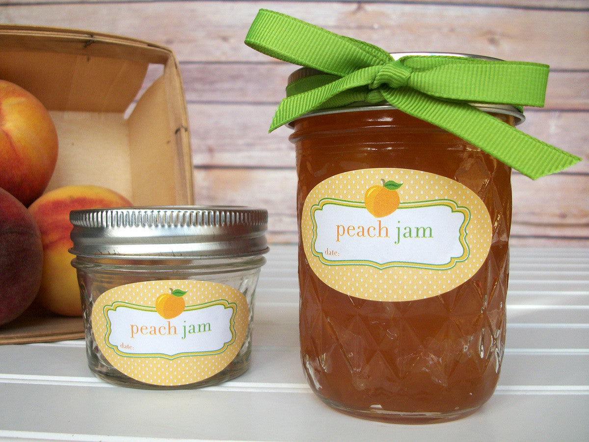 Oval Peach Jam Quilted Jar Labels | CanningCrafts.com