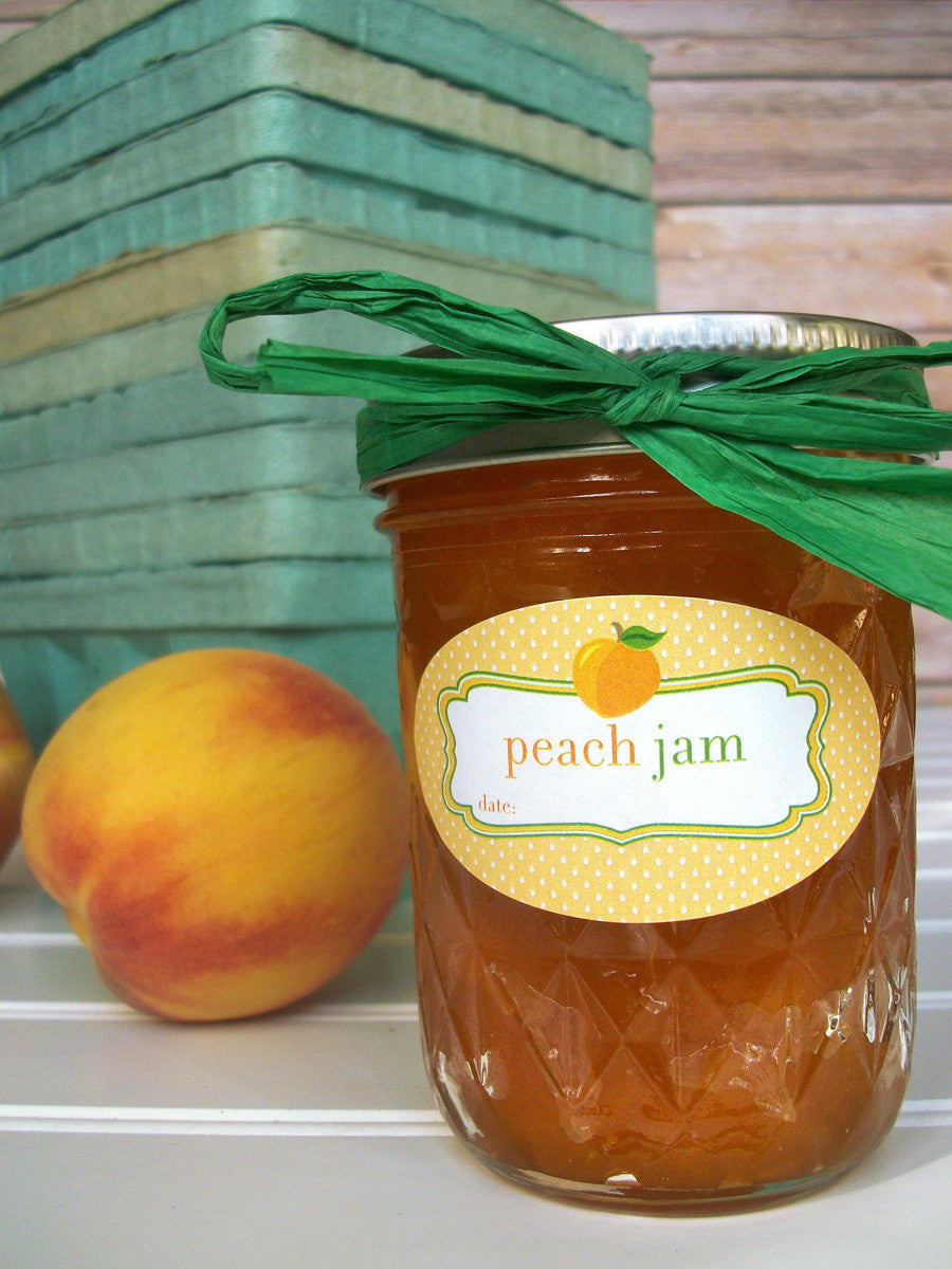 Oval Peach Jam Canning Labels fit quilted jam jars | CanningCrafts.com