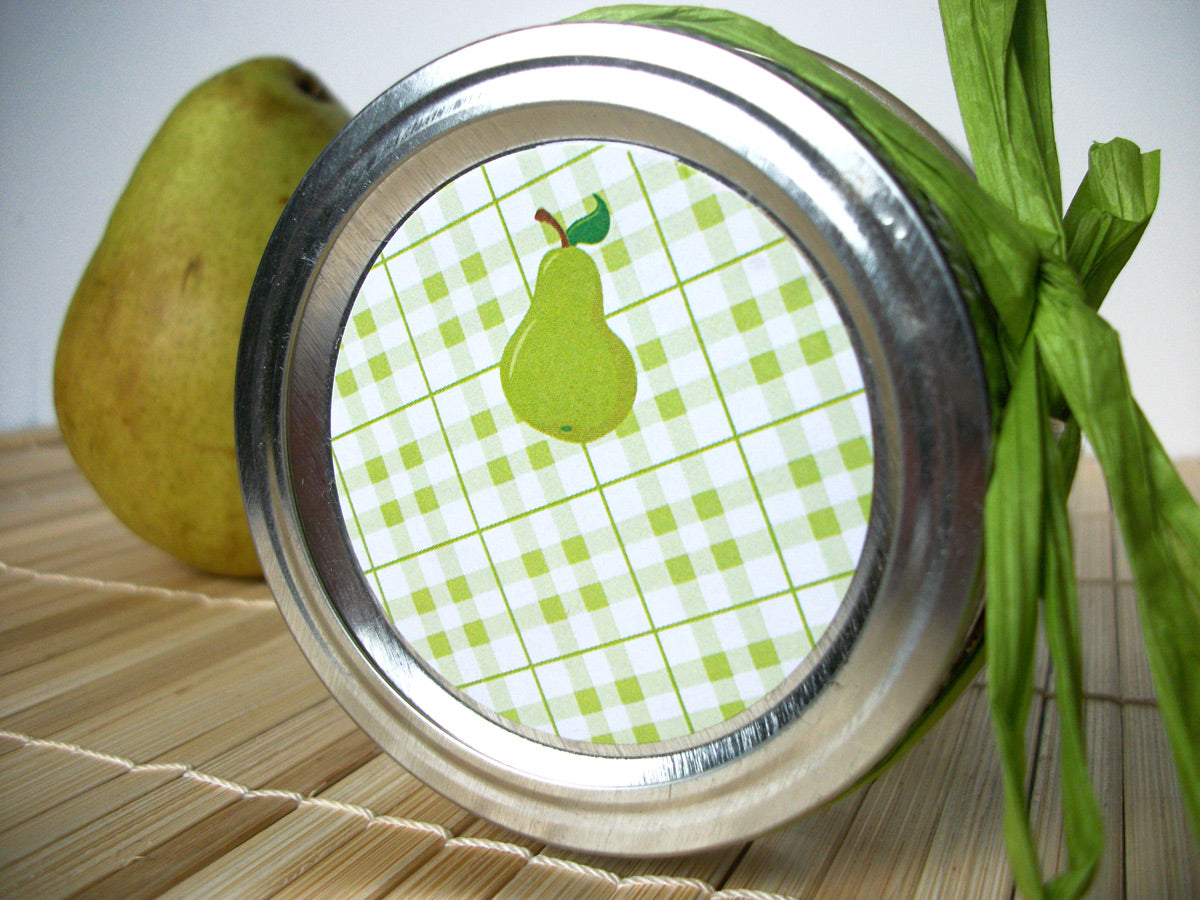 Plaid Pear Canning Labels | CanningCrafts.com