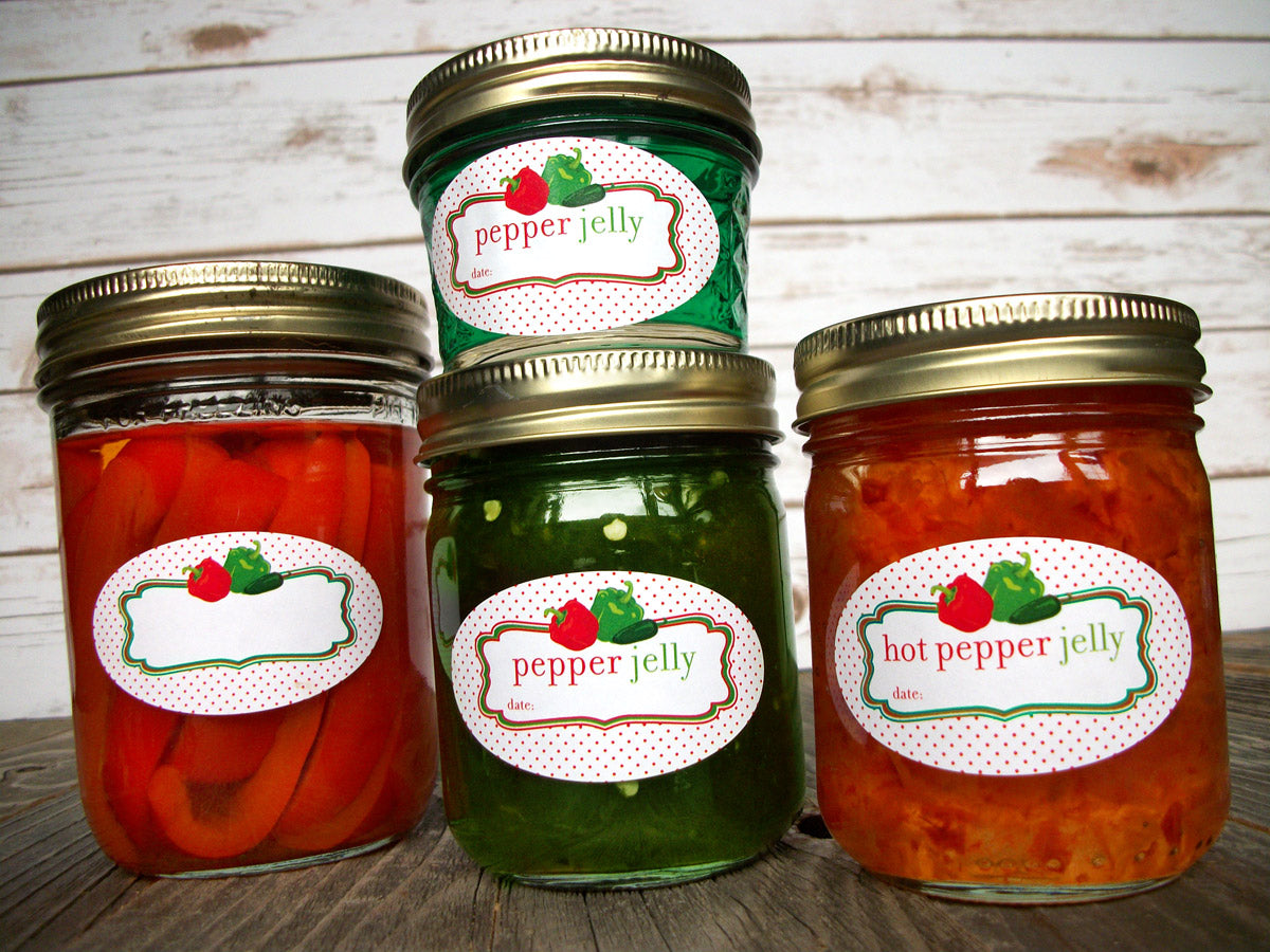 Oval Hot Pepper Jelly Mason Jar Labels | CanningCrafts.com