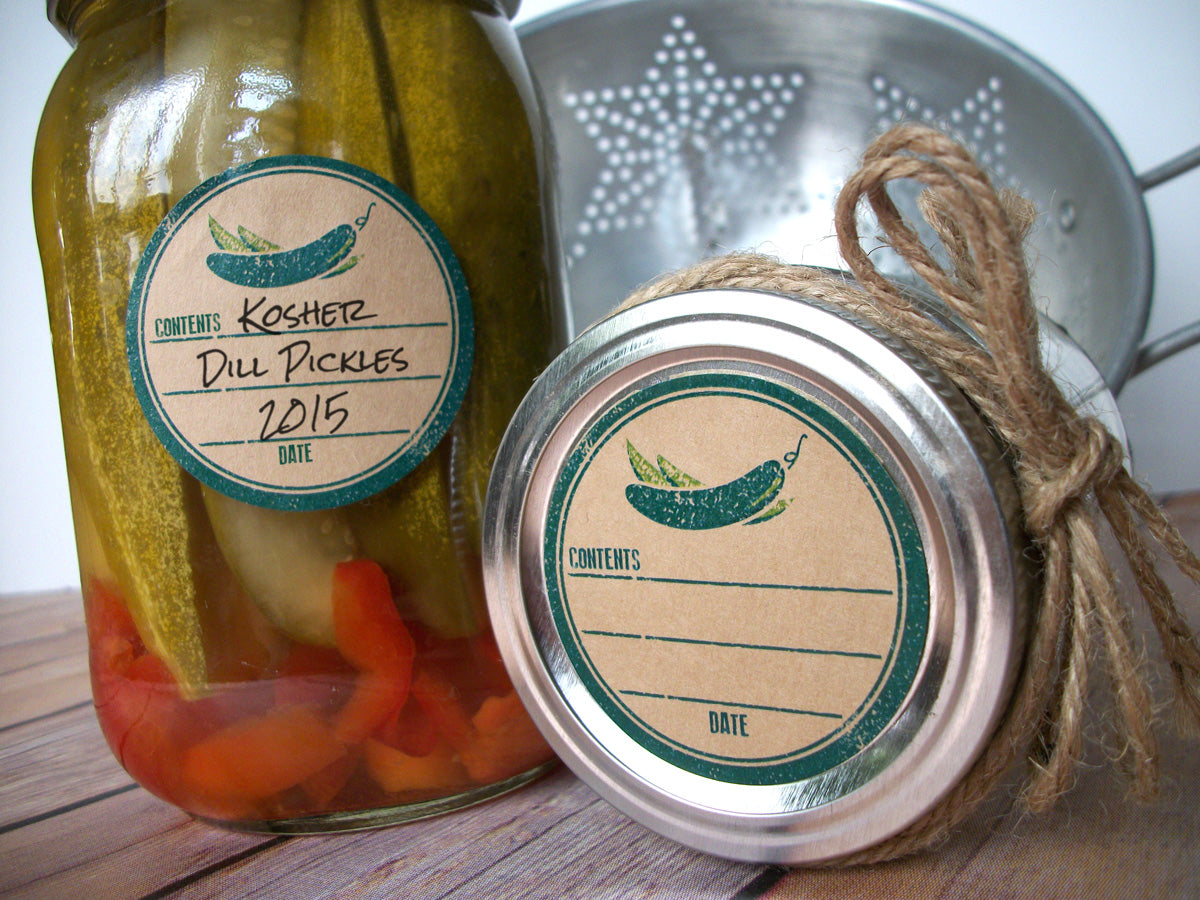 Kraft Rubber Stamp Pickle Canning Labels for home canning ...