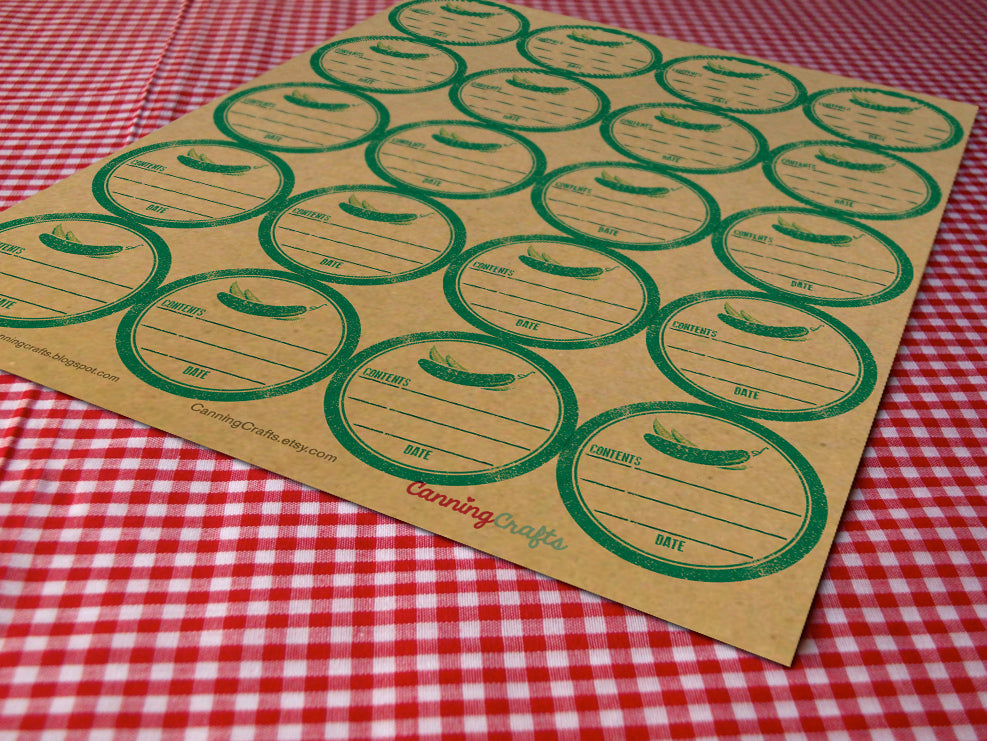 Kraft Rubber Stamp Pickle Canning Labels | CanningCrafts.com