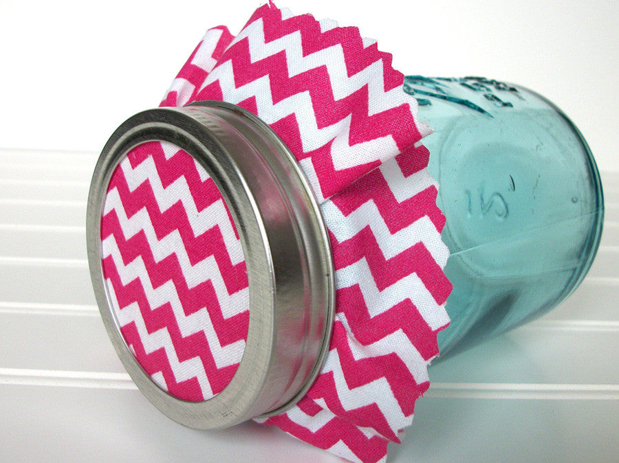 Hot Pink Chevron Jam Jar Covers | CanningCrafts.com