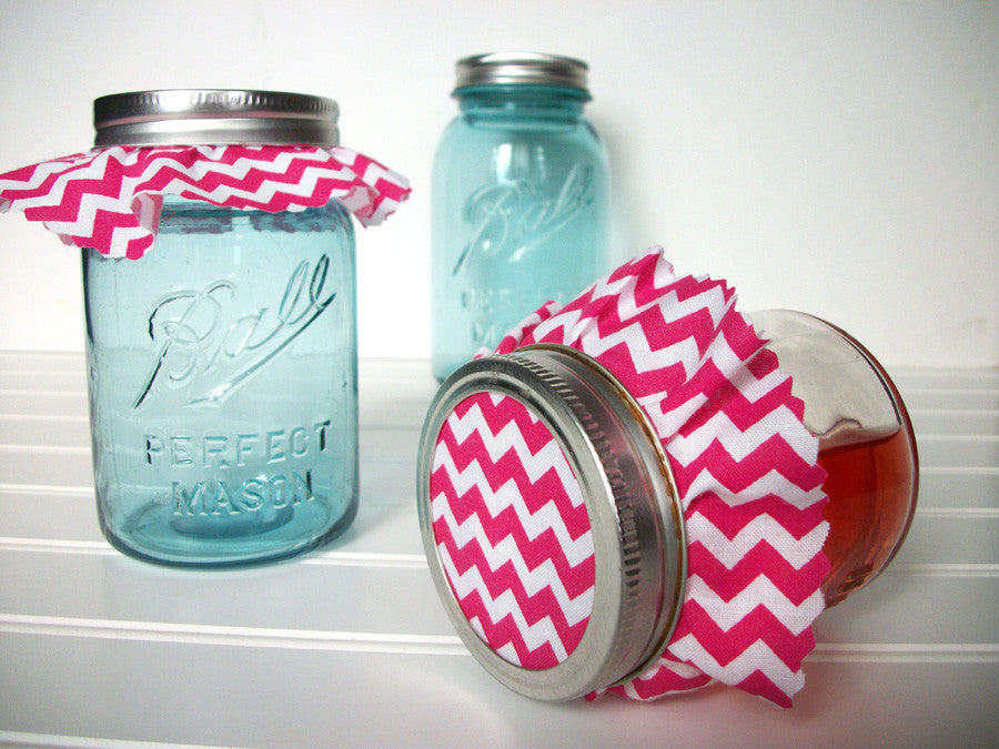 Hot Pink Chevron Mason Canning Jar Covers | CanningCrafts.com