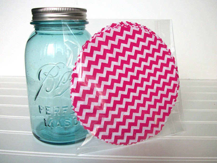 12 Hot Pink Chevron Jam Jar Covers