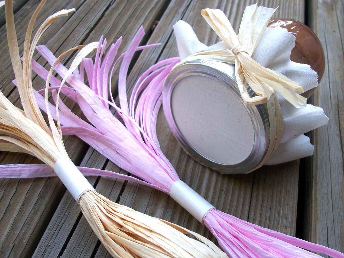 Natural or Pink Paper Raffia Ribbons for mason canning jars | CanningCrafts.com