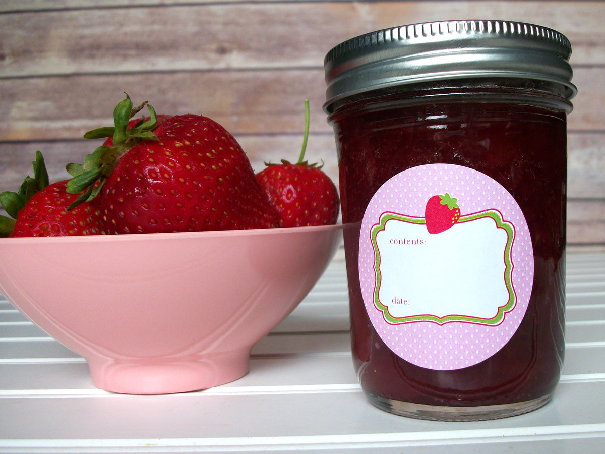 Cute Pink Strawberry Mason Jar Canning Labels | CanningCrafts.com