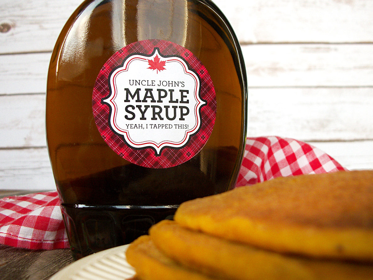 Custom Plaid Maple Syrup Bottle Labels | CanningCrafts.com