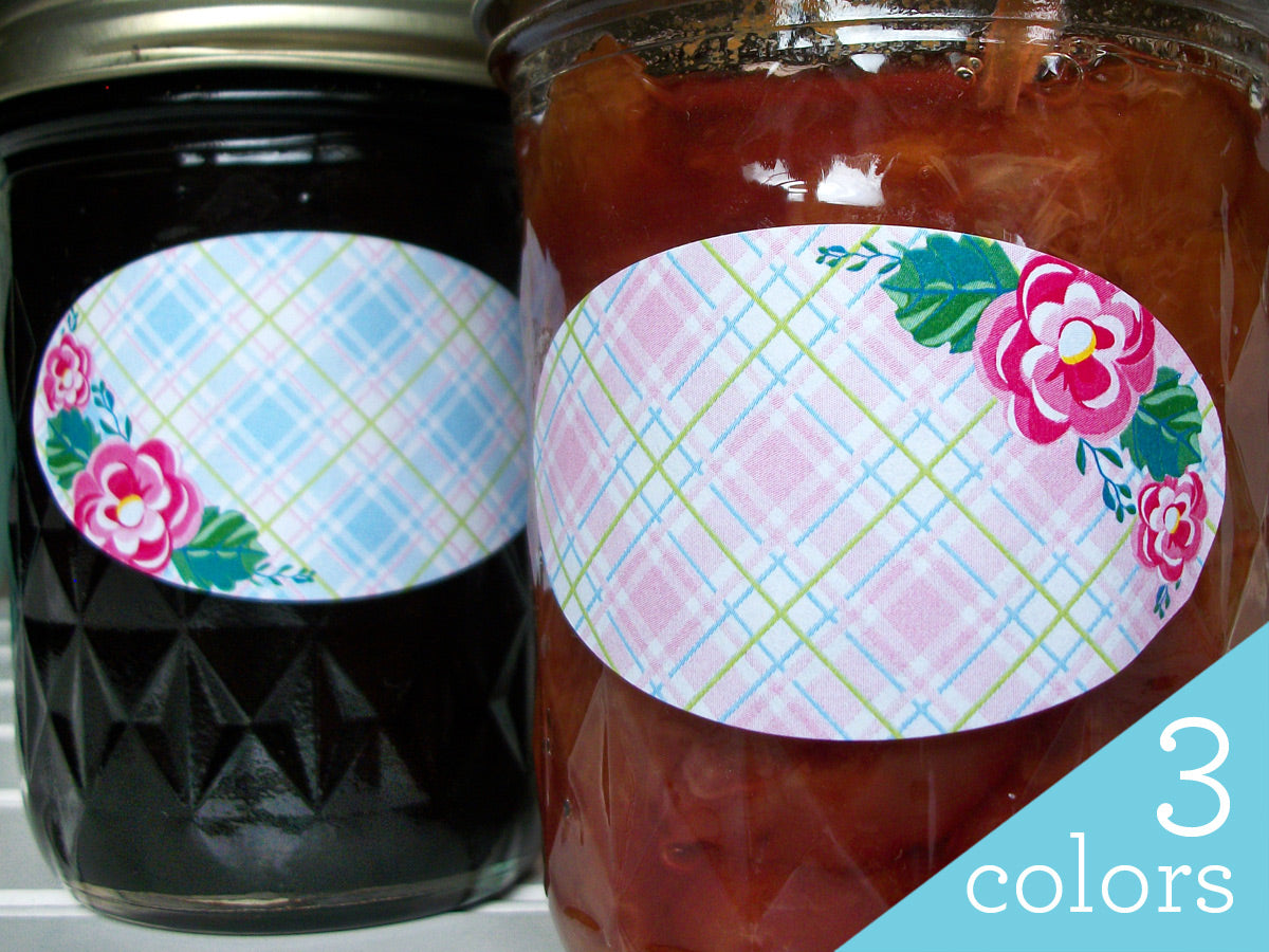 Plaid Floral Oval Canning Labels | CanningCrafts.com