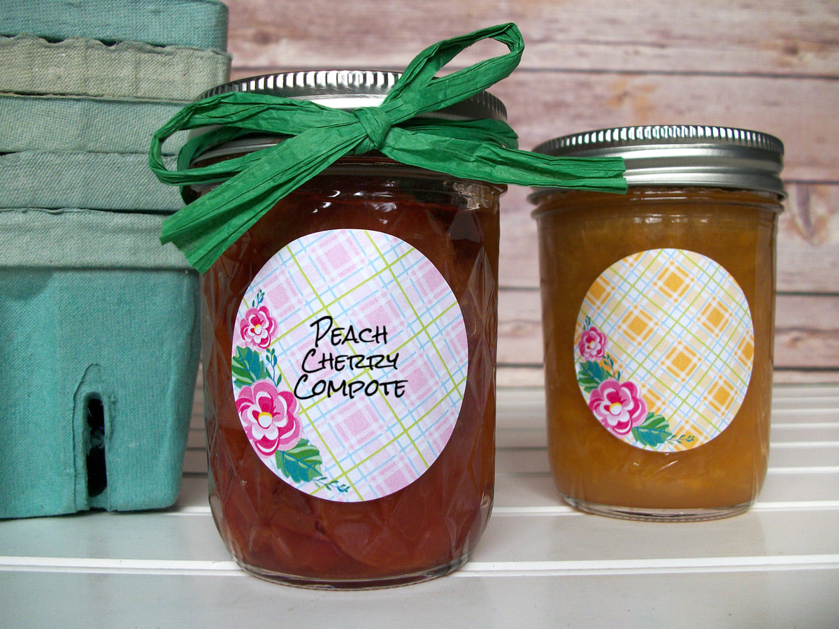 Plaid Floral Canning Jam & Jelly Jar Labels | CanningCrafts.com