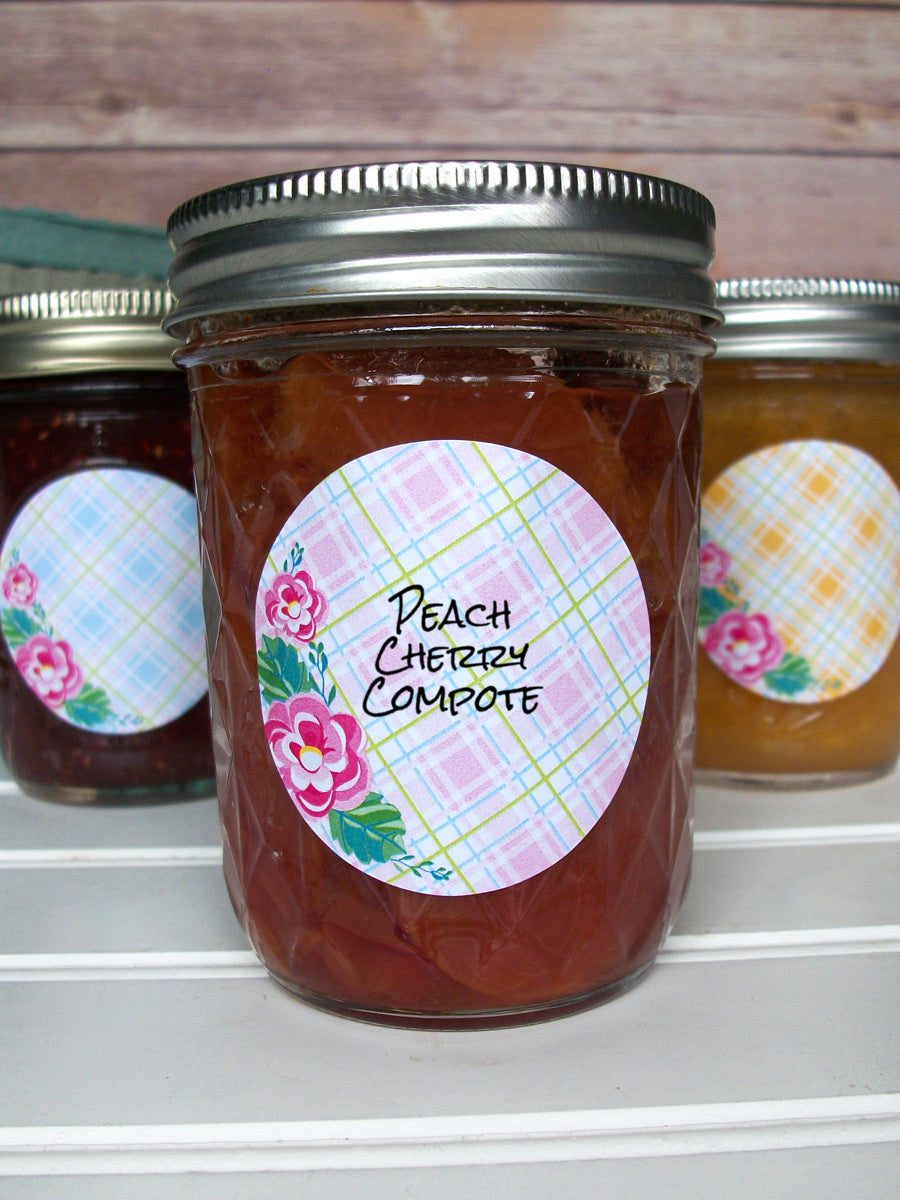 Plaid Floral Canning Jam Jar Labels | CanningCrafts.com