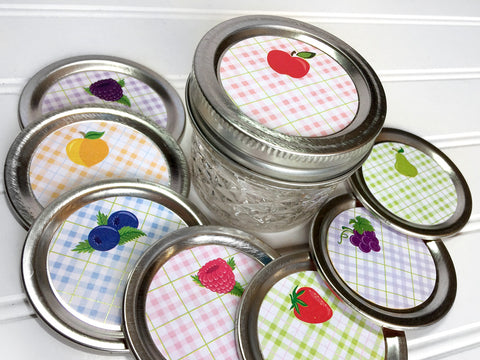 Plaid Fruit Canning Labels for peach, strawberry, blueberry, red & black raspberry, pear, fruit, apple, grape | CanningCrafts.com
