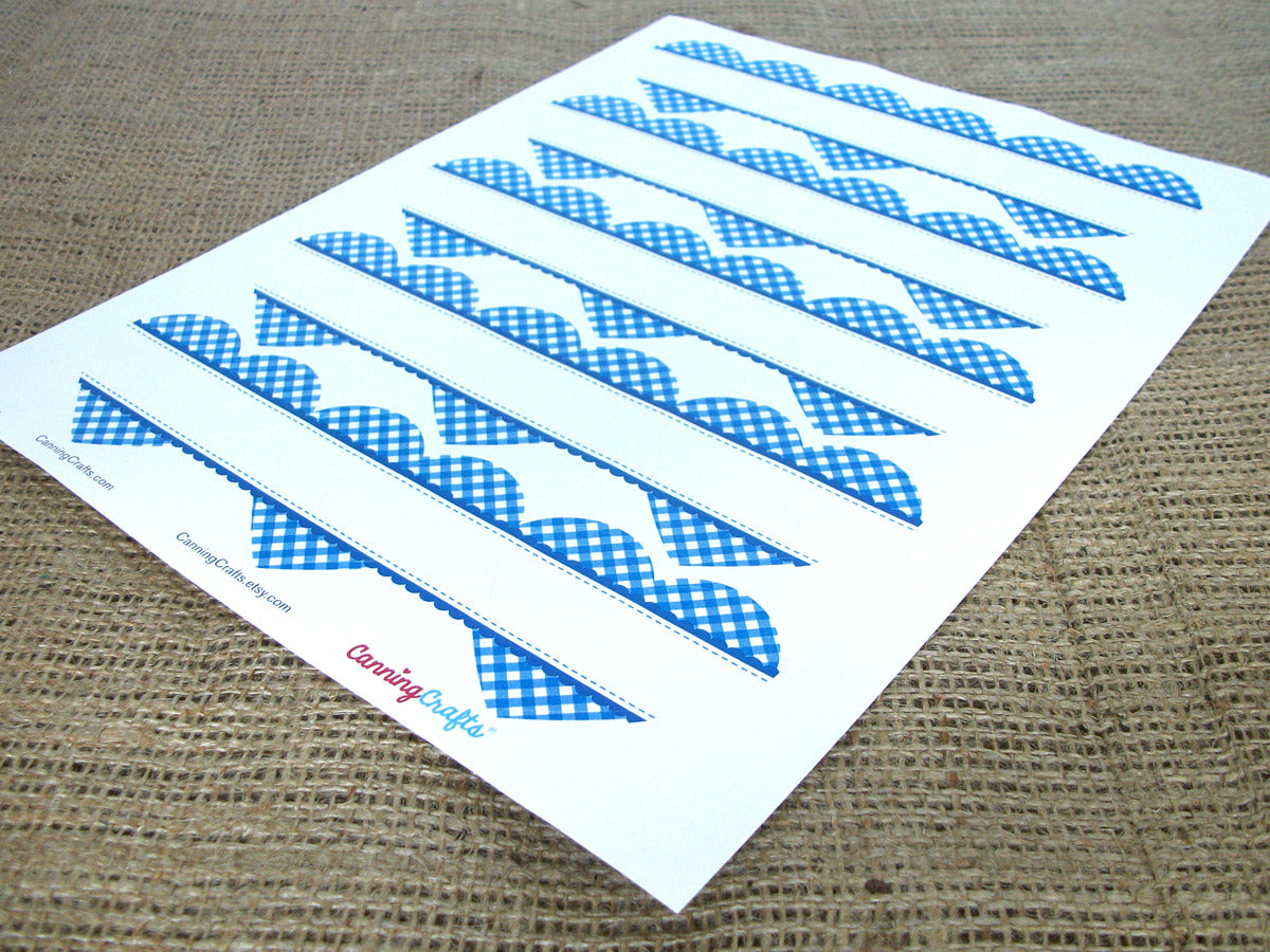 blue plaid gingham heart labels | CanningCrafts.com