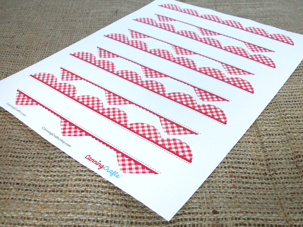 red plaid gingham heart labels | CanningCrafts.com
