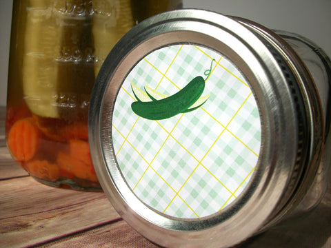 Plaid Pickle Canning Labels | CanningCrafts.com