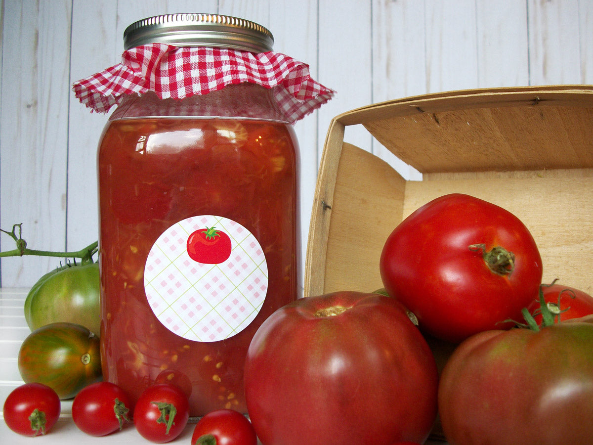 Plaid Tomato Mason Canning Jar Labels | CanningCrafts.com
