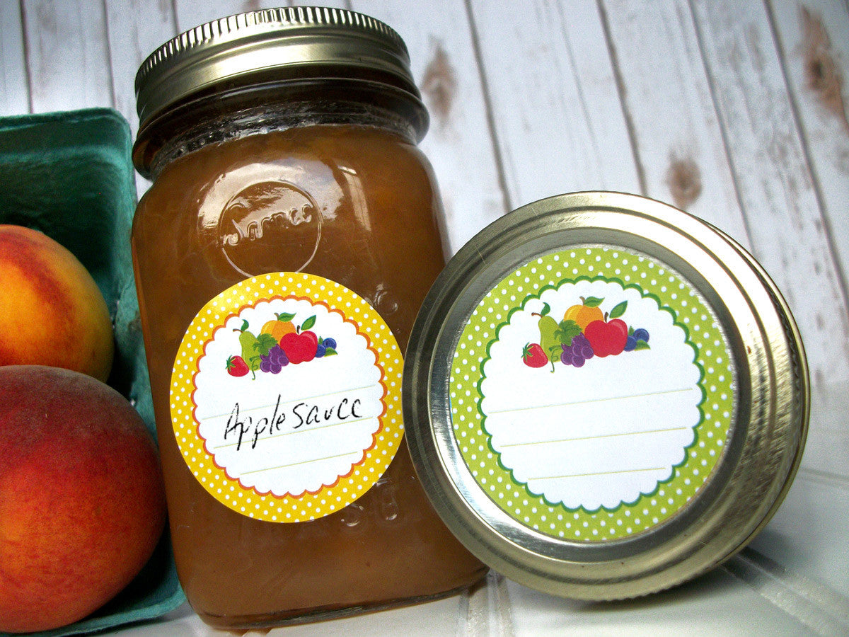 Polka Dot Fruit Canning Jar Labels | CanningCrafts.com