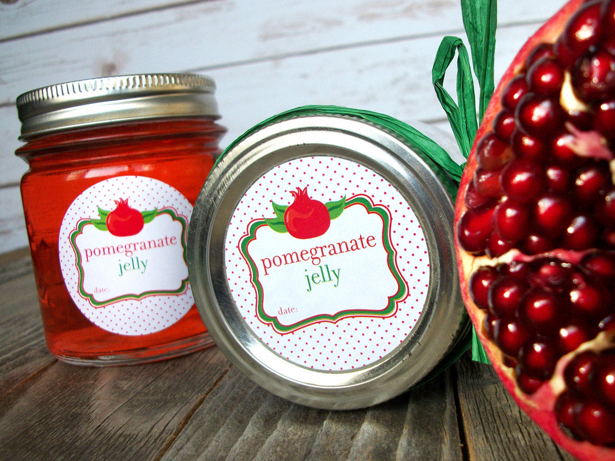 pomegranate jelly Mason jar label | CanningCrafts.com