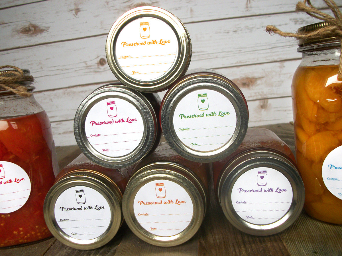 Preserved with Love Canning Jar Labels in 9 color options | CanningCrafts.com
