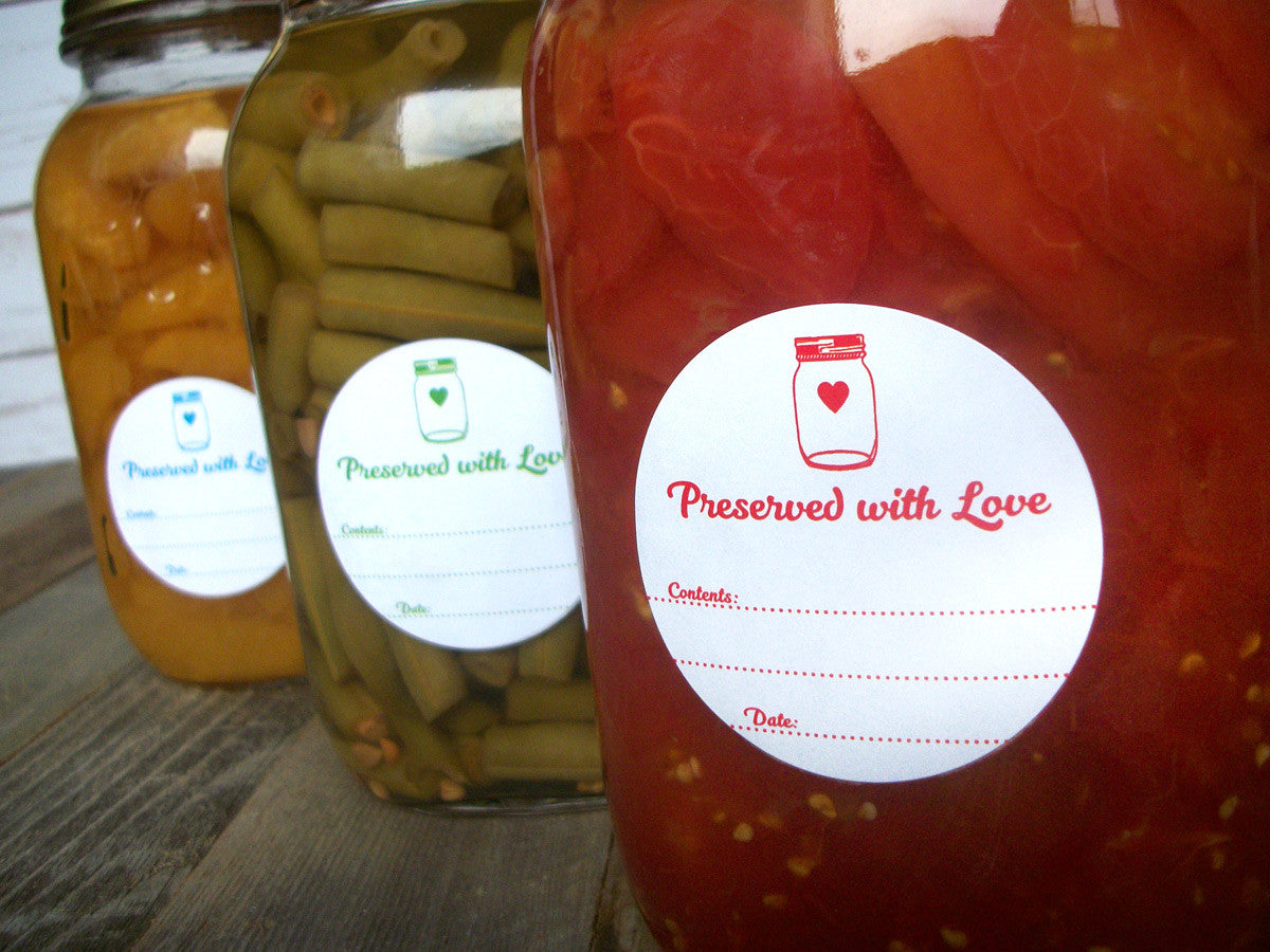 Canning LabelsPreserved with Love Canning Jar Labels in 9 color options | CanningCrafts.com