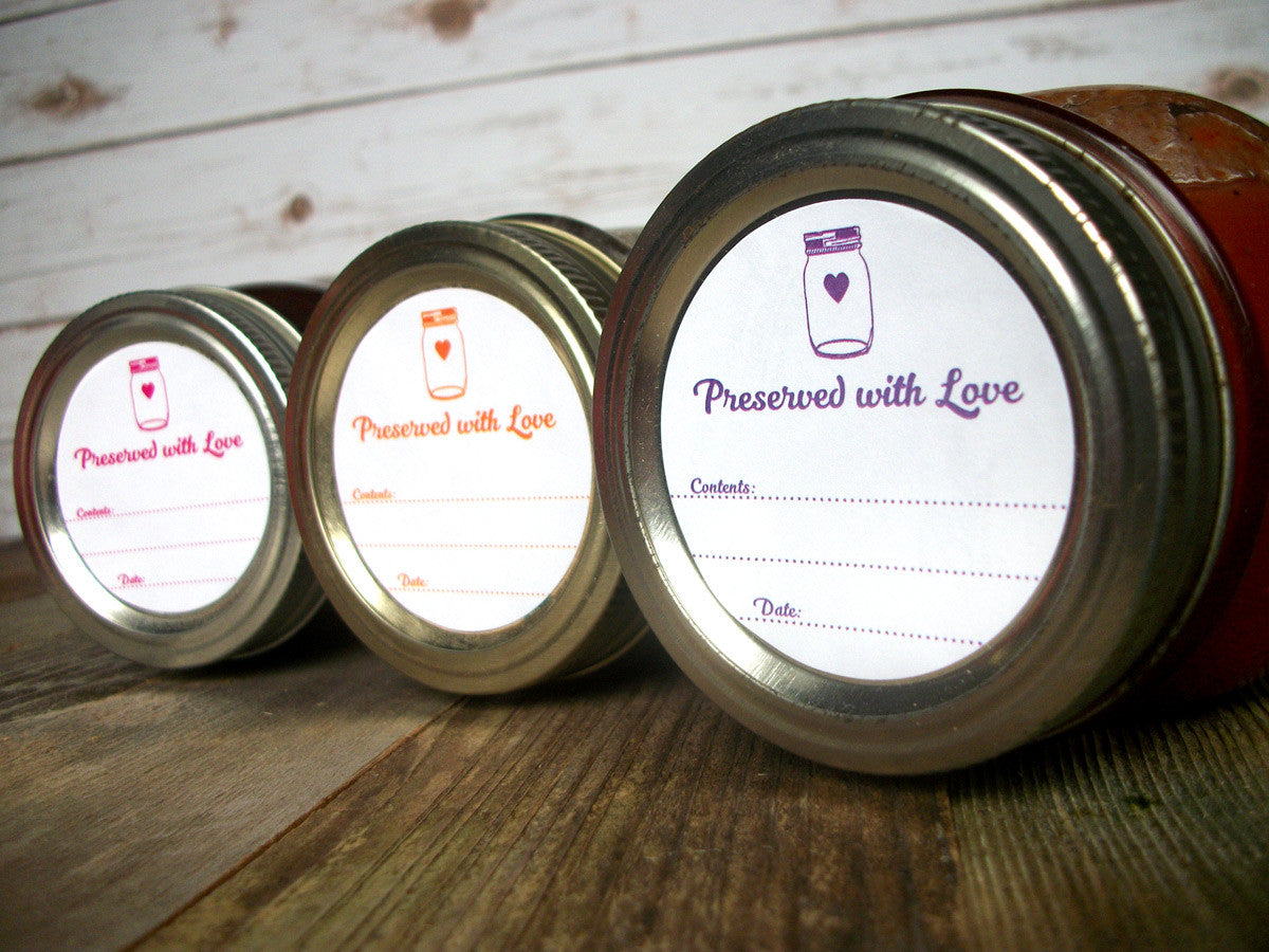 Preserved with Love Canning Jam Jar Labels in 9 color options | CanningCrafts.com