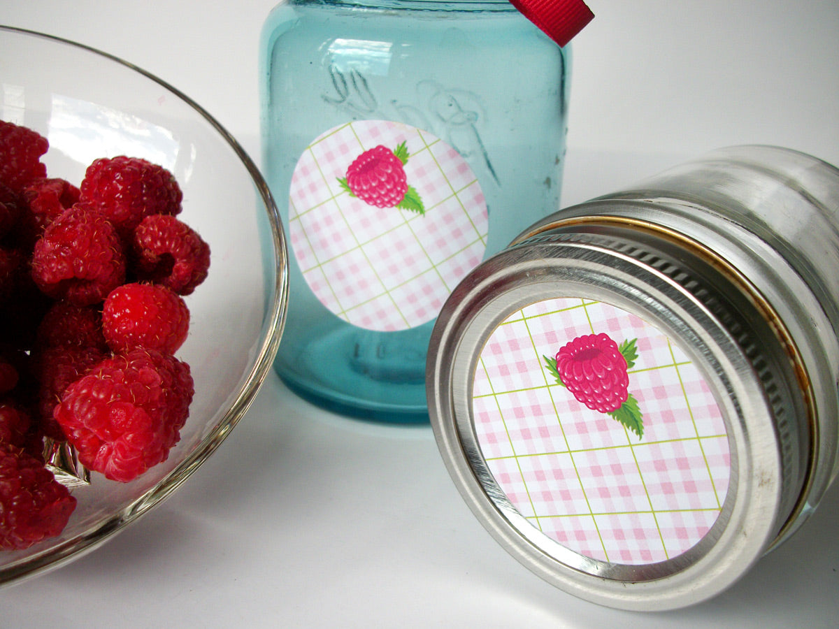 Red Raspberry Canning Jar Labels | CanningCrafts.com