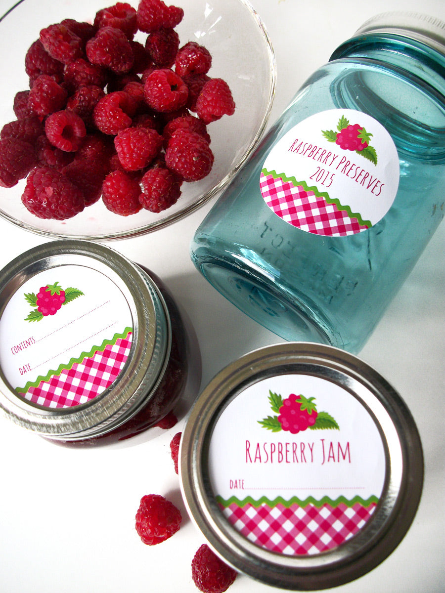 Red Raspberry Jam & Preserves Canning Labels | CanningCrafts.com