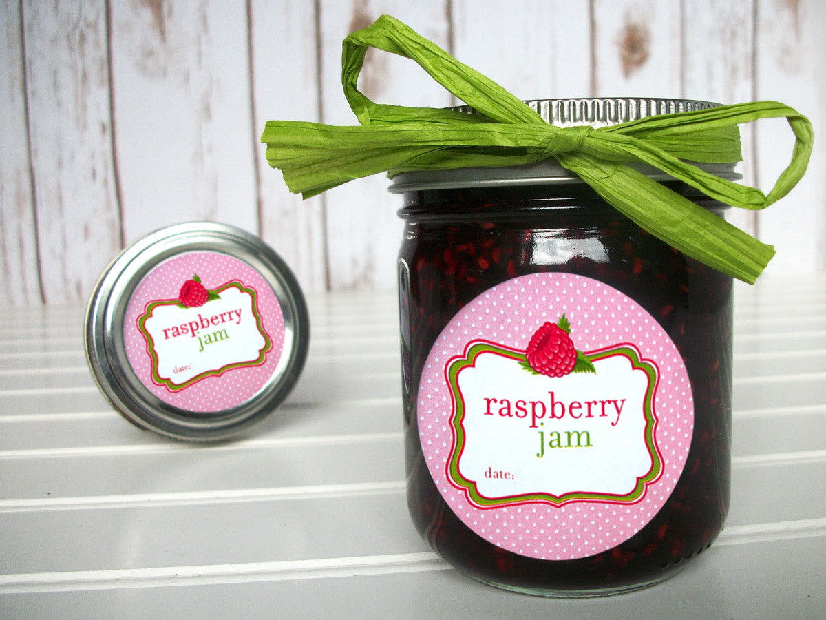 Red Raspberry Jam Mason Canning Jar Labels | CanningCrafts.com