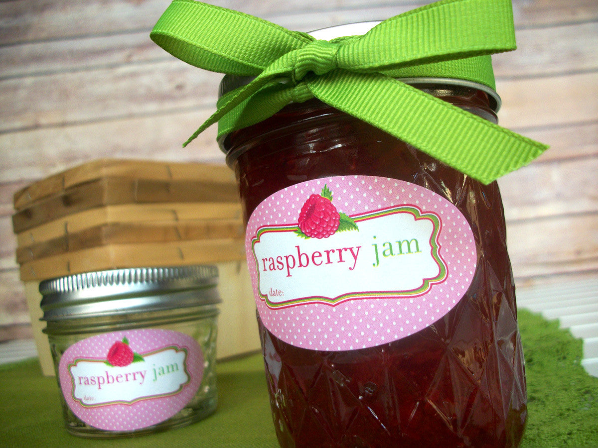 Oval Raspberry Jam Jar Canning Labels | CanningCrafts.com