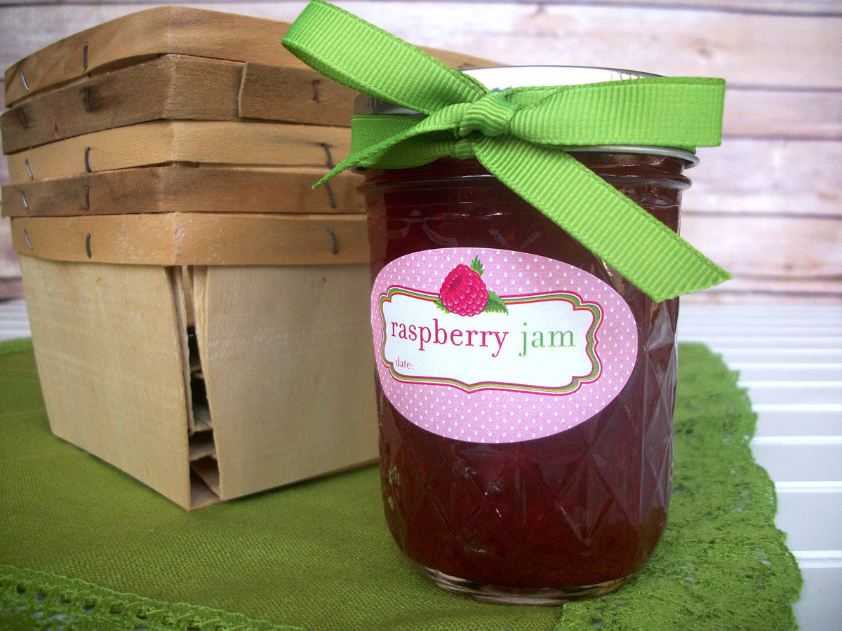 Oval Raspberry Jam Quilted Jar Labels | CanningCrafts.com