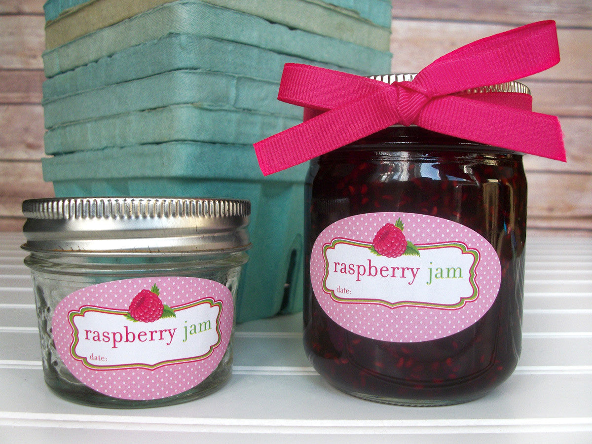 Oval Red Raspberry Jam Canning Labels | CanningCrafts.com